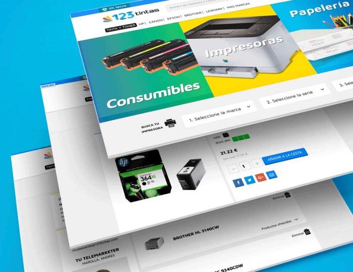 Detalles de diseño para 123 tintas realizado por la agencia de marketing digital y diseño web, Iconos Consultores